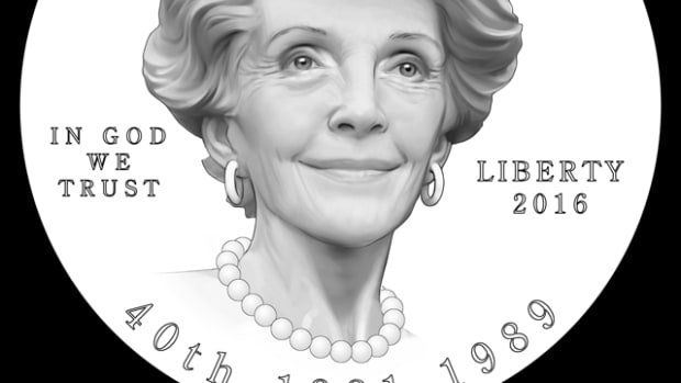 The obverse design for the Reagan First Spouse gold coin that the CCAC, CFA and Nancy Reagan preferred.