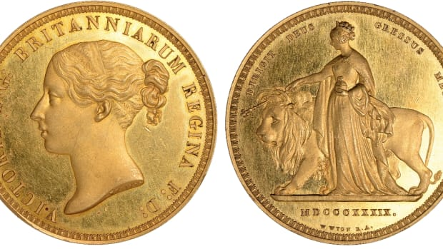 Star of the show: superb 'Una and The Lion' gold £5 of 1839 showing the rare DIRIGIT DEUS GRESSUS MEOS reverse legend (ESC-2628; W&R-277).  In 'about FDC' it sold well above double upper estimate for a price of $188,667. (Images courtesy Baldwin's of St James)