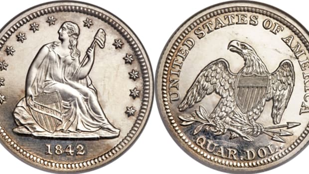 This PR-63 cameo 1842 small-date Seated Liberty quarter earned $88,125.