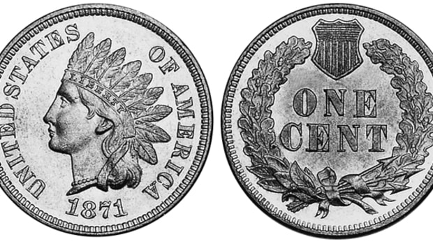 The 1871 Indian Head cent is among the elite coins of the series in Mint State-65.
