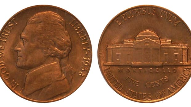 The 1938-D Jefferson nickel in MS65 if valued at $15.00, while in 65FS the value jumps to $95.00.  (Image courtesy of www.usacoinbook.com)
