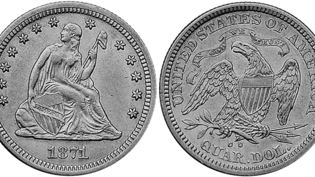 A very low mintage plus a lack of saving adds up to the very rare 1871-CC Seated Liberty quarter, which is tough to find in lower grades and nearly impossible in mint state.