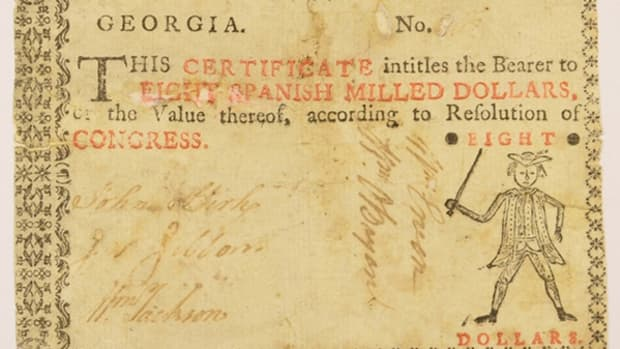 This Georgia Colonial note is among the offerings in MintProducts Auctions' Sept. 19 sale.