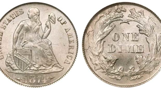 With a metal composition of 90% silver and 10% copper, the 1874-S Seated Liberty dime, designed by Christian Gobrecht, can be purchased for a reasonable price. (Image courtesy of usacoinbook.com)