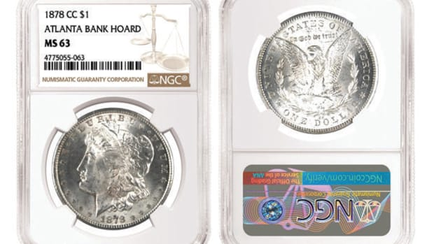 An 1878-CC Morgan dollar graded NGC MS-63 from the Atlanta Bank Hoard. (Images courtesy Numismatic Guaranty Corporation.)