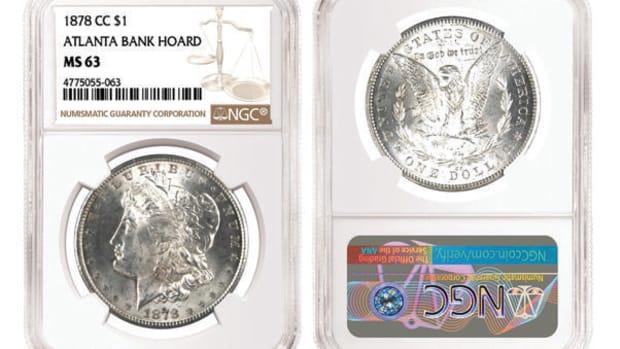 An 1878-CC Morgan dollar graded NGC MS-63 from the Atlanta Bank Hoard. (Images courtesy Numismatic Guaranty Corporation.)