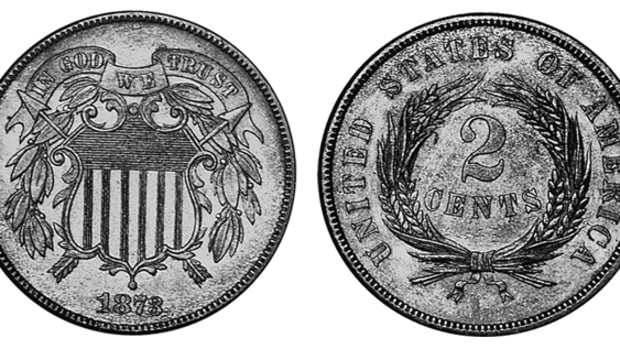 "At the end of a 10-year run, the 1873 two-cent saw a mintage of 1,100 coins between open and closed ""3"" varieties. A closed ""3"" like the one shown can be had for $3,850 in Proof-65."