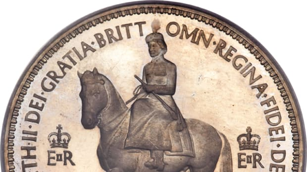 Apart from the Her Majesty's official effigies that have appeared on the obverse of coins throughout her realm in the past 64 years, the queen has made other appearances as shown here on a Coronation crown 1953, the first time since Charles I the monarch has appeared on horseback. Images courtesy & © www.ha.com.