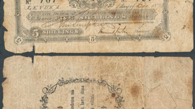 Face and back of scarce-as-hens'-teeth, issued, and uncanceled Fiji Banking and Commercial Co. five shillings issued at Levuka on Dec. 1, 1873, P-19. The back specifies the value in Fijian inside a simple wreath. The large tear on the right side is patched twice at the back using what could well be contemporary, coarsely perforated, stamp paper. Images courtesy and ©  Collection 2016.