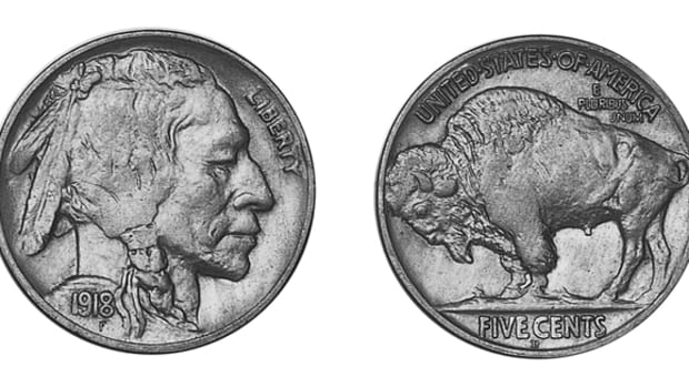 With the 1918/17-D Buffalo overdate nickel overshadowing it, the 1918-D can be a suprise to the collector when prices range from $22.50 in G-4 to $3,750 in MS-65.