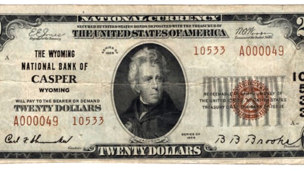 a typ 2 $20 from Casper, Wyoming, enters the census for Wyoming notes.