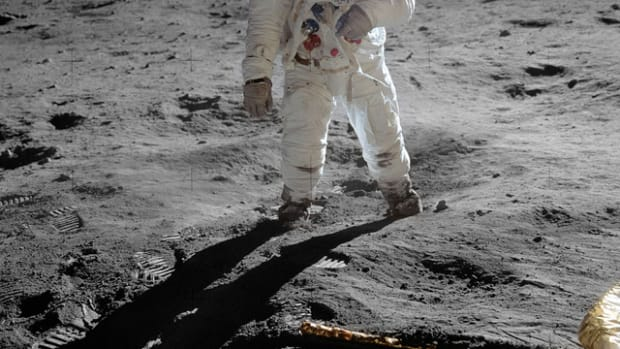 Photo of Apollo 11 astronaut Buzz Aldrin on the surface of the Moon.