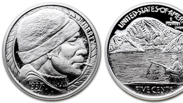 """The Fisherman"" by Mr. The hobo nickel reproduction silver medal."