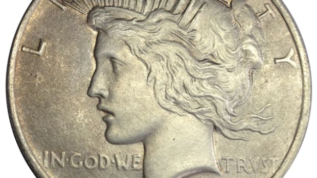 A 1922 Peace dollar appears to have little to no wear or damage at first glance.