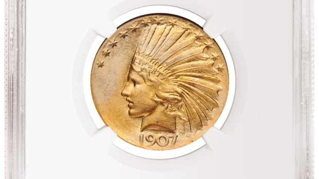 A 1907 Wire Rim Indian Head Eagle graded NGC MS 68 sold for $432,000 at the August American Numismatic Association World's Fair of Money.