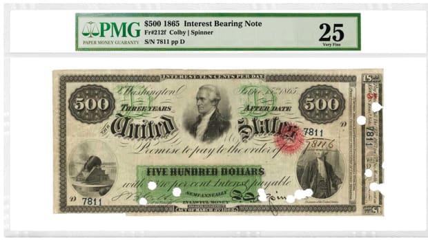 This 1865 $500 Interest Bearing Note, Fr. 212f, is graded PMG 25 Very Fine. It realized: $264,000. Image courtesy of PMG