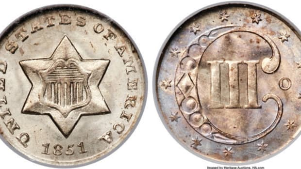 This 1851-O 3-cent piece is graded NGC MS-65 and is from the Richmond Collection. (Images courtesy Heritage Auctions, www.ha.com.)