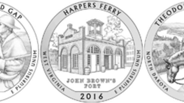The five designs for the 2016 America the Beautiful quarters.
