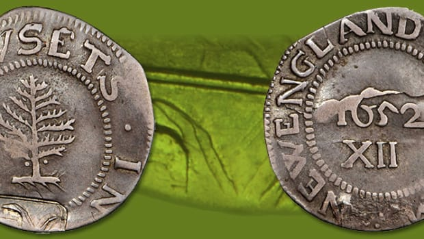 The infamous 1652 NE Pine Tree Shilling.