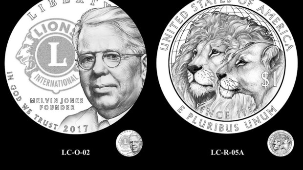 Obverse and reverse of the CCAC-endorsed 2017 Lions Club silver dollar commemorative coin.