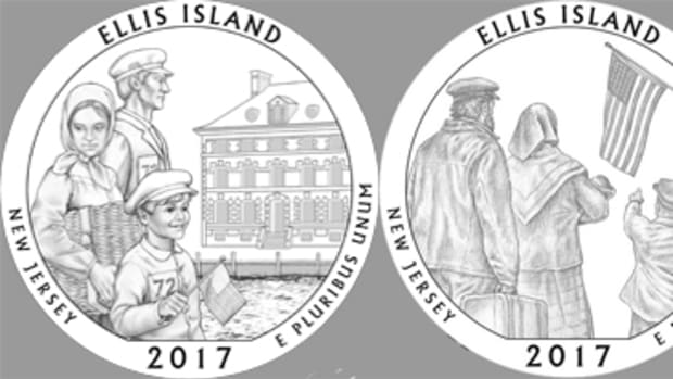 Selected by CCAC was Ellis Island design 05A, left, while the other two designs, 1A, center, and 10, had significant support.