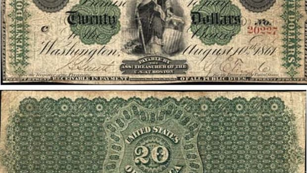 This 1861 $20 Demand Note, one of just four from Boston, is graded PMG VF-25. (Images courtesy Lyn Knight Auctions.)