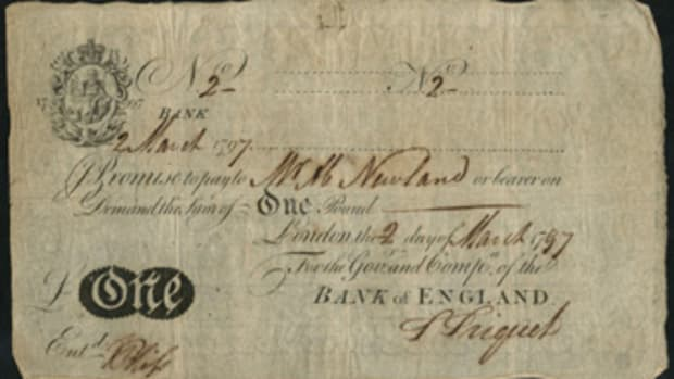 Supreme collectable: Bank of England £1 of 2 March 1797, signed by Abraham Newland and carrying serial number 2 (P-170).  In a remarkable PMG-20 Very Fine it carries and estimate of £50,000-60,000. (Image courtesy and © Spink, UK.)