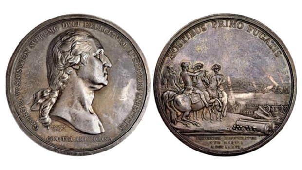 """1776"" (ca. 1789) Washington Before Boston Medal. First Paris Mint Issue. Silver. 68.5 mm. 2761.8 grains. Musante GW-09-P1, Baker-47, Betts-542, Julian MI-1, Adams-Bentley 3. Specimen-61 (PCGS). (Image courtesy of Stack's Bowers)."
