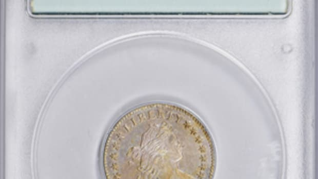 "1796 Draped Bust dime graded MS-63 in small PCGS ""rattler"" holder. (All images courtesy GreatCollections.)"