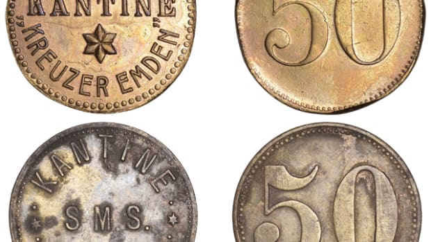 "Brass and zinc canteen tokens used on board ""SMS Emden"" before and during her raiding exploits. Two series of tokens exist: those showing SMS EMDEN and those showing KREUZER EMDEN. Images courtesy Dix Noonan Webb. (5 denomination on Page 31)"