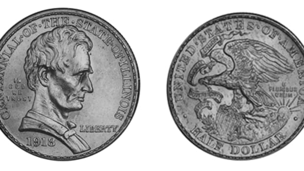 A large mintage for the Illinois Centennial half dollar led to many traveling the nation in bags for a while, resulting in a price of $565 for an MS-65 without any bagmarks.