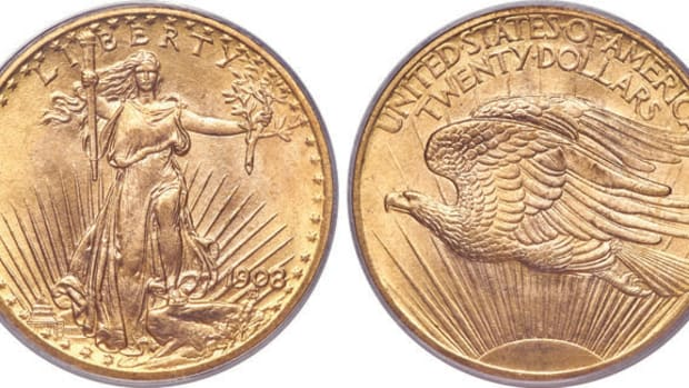 1908-A 1908 Saint-Gaudens double eagle with No Motto. (Images courtesy Heritage Auctions)