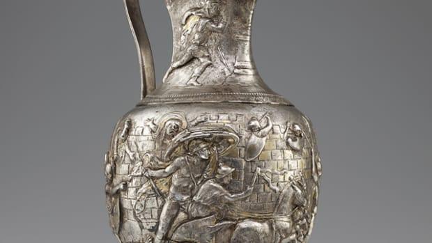 A silver Roman pitcher. Image courtesy of Bibliothèque nationale de France, Département des monnaies, médailles et antiques, Paris