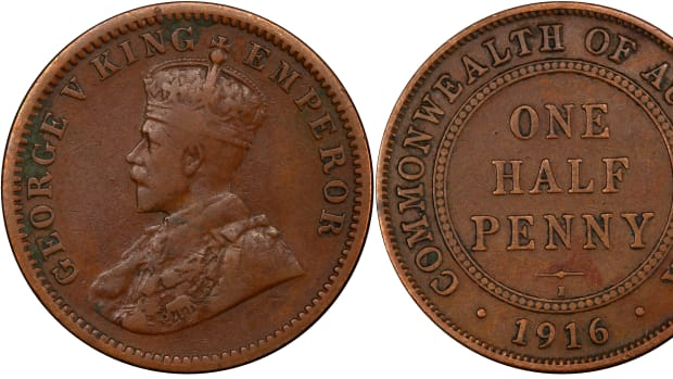 Indian 1/4 anna (KM-512) obverse and Australian halfpenny (KM-22) reverse are combined on Australia's rarest circulating coin, the 1916 mule (KM-30). This example is a new discovery that will be offered for sale by Roxburys in Queensland on October 5. Images courtesy and © Heritage Auctions