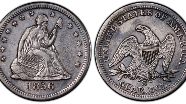 "This 1856 large S over small s mint mark quarter dollar, now graded PCGS XF45, is one of nine examples of the elusive variety recently discovered in the treasure recovered from the fabled ""Ship of Gold,"" the S.S. Central America. (Image courtesy of Professional Coin Grading Service www.PCGS.com.)"
