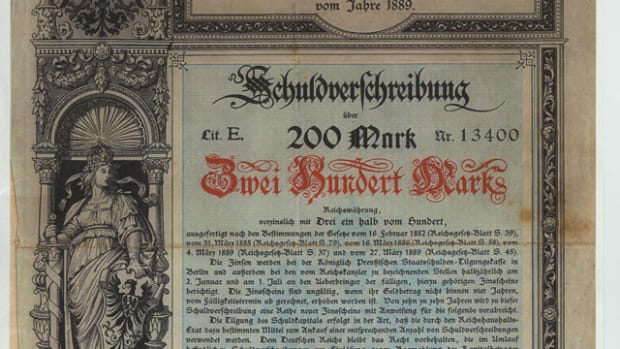 German Reich Loan, 3 1/2% bond 200 mark, Lit E, Berlin Dec. 5,1889. Only one found. All images courtesy and © Spink.