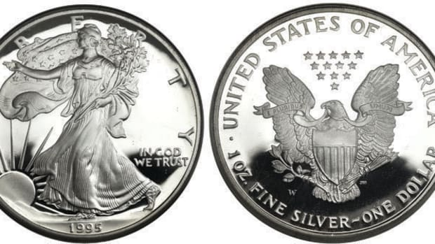 Shown here is a 10th Anniversary 1995-W Silver American Eagle Proof. Images courtesy of Heritage Auctions
