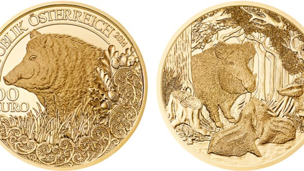 """2014 Austrian 100-euro gold coin featuring wild boar, the second in the """"Wildlife in our Sights"""" series."""