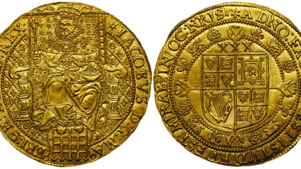 Superb Rose Ryal of James I Third Coinage, ex-Montagu Collection, to be sold later this year by St James's Auctions. The Montagu catalog grades it as EF. Image courtesy and © St James's Auctions.