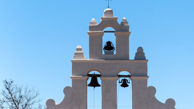 This image depicts the bell tower of Mission San Juan Capistrano in San Antonio, Texas. San Juan Capistrano was established in 1731 by Spanish colonist.