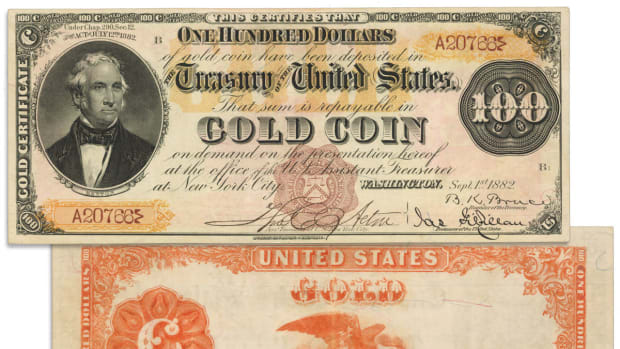 Fr. 1202a. 1882 $100 Gold Certificate. PCGS Currency Very Fine 35 Apparent. Minor Edge Restoration.  Est. $800,000 - $1,200,000