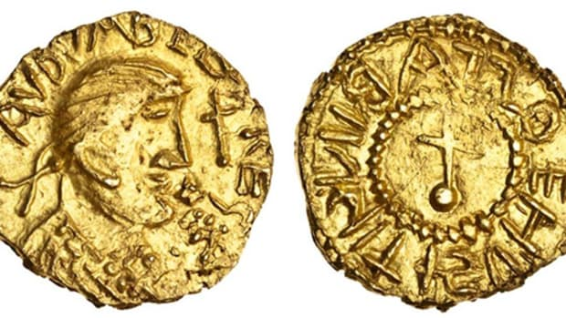 The first coin to be sold from Lord Stewartby's Academic Collection of English Coins: the extremely rare and choice gold thrysma or shilling from the Anglo-Saxon Kingdom of Kent struck by Eadbald sometime between 620 and 635. It had little difficulty in realizing $84,600 in Spink's March sale. Image courtesy and © Spink London.