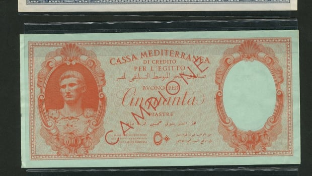 Four of the Italian Occupation notes sold in the auction.