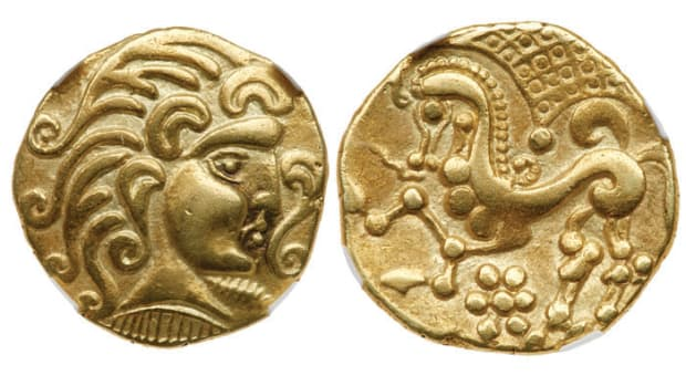 Shown is a gold stater struck by the Parisii in Northern Gaul between 100 to 50 BCE. Images courtesy of Lyle Engelson/Goldberg Coins & Collectibles.