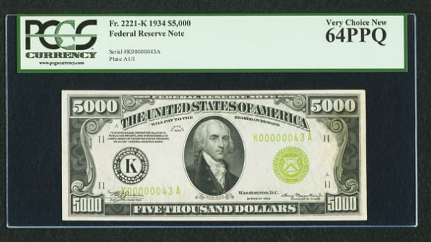 This 1934 Dallas district $5,000 in PCGS Very Choice New 65PPQ brought $223,250.