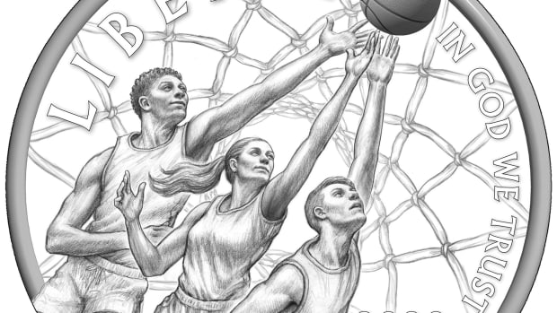 The coin's obverse, designed by Justin Kunz, portrays the fast-pace, intensity, and hands-on action of a basketball game.