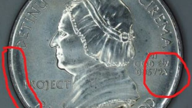 Another portrait of Martha Washington was used for quarter test strikes. This one is nickel-plated steel, which also had areas that did not strike up properly.