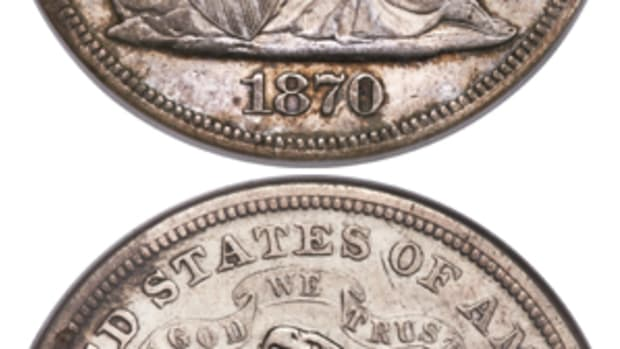 Graded NGC XF-40, this 1870-S silver dollar is one of just nine known.