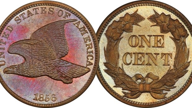Lot 5. 1C 1856 Flying Eagle. PCGS PR66 CAC.  Using a strong glass, the auctioneer is unable to locate a single mark, tick, line of fleck anywhere.  Estimate $60,000+.