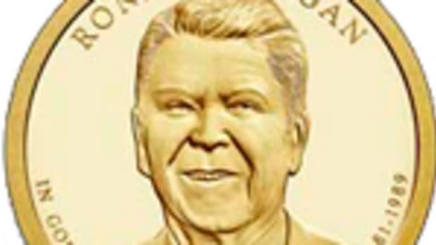 The Reagan Presidential dollar design.